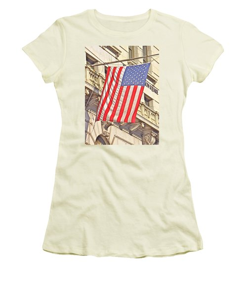 Women's T-Shirt (Junior Cut) featuring the photograph American Flag N.y.c 1 by Joan Reese