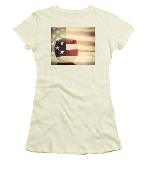 Americana Baseball  Women's T-Shirt (Junior Cut) by Terry DeLuco