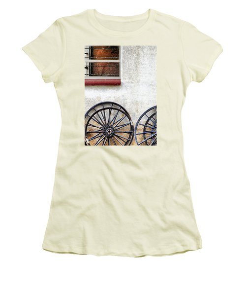 Women's T-Shirt (Junior Cut) featuring the photograph Amish Buggy Wheels by Polly Peacock