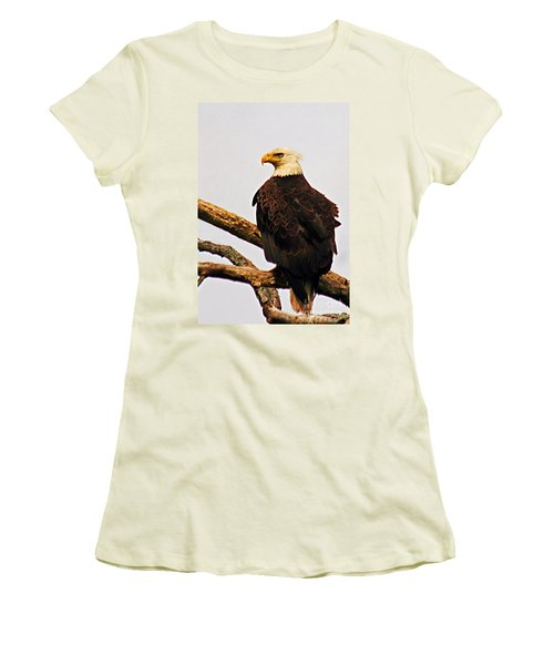 Women's T-Shirt (Junior Cut) featuring the photograph An Eagle's Perch by Polly Peacock