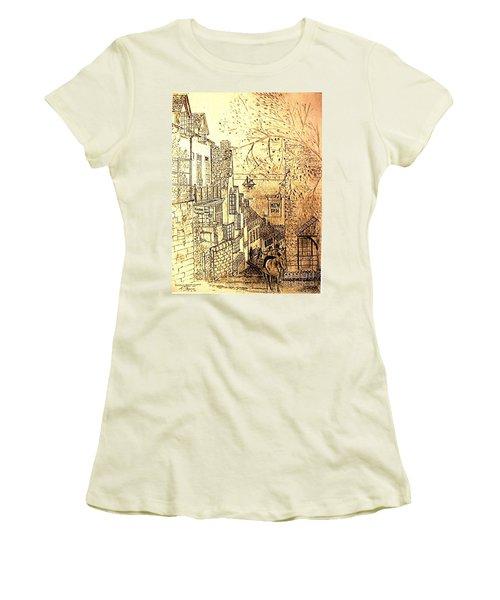 An English Fishing Village Women's T-Shirt (Junior Cut) by Hazel Holland