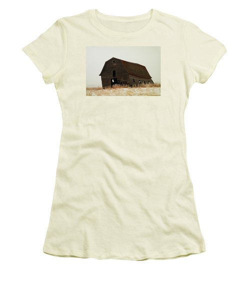 An Old Leaning Barn In North Dakota Women's T-Shirt (Junior Cut) by Jeff Swan