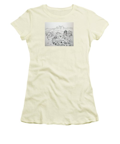 Women's T-Shirt (Junior Cut) featuring the drawing Ancient City In Pen And Ink by Janice Rae Pariza