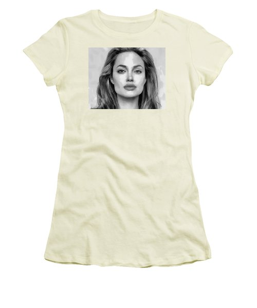 Women's T-Shirt (Junior Cut) featuring the painting Angelina Jolie Black And White by Georgi Dimitrov