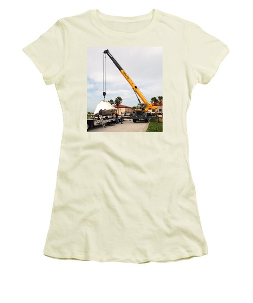 Women's T-Shirt (Junior Cut) featuring the photograph Apollo Capsule Going In For Repairs by Science Source