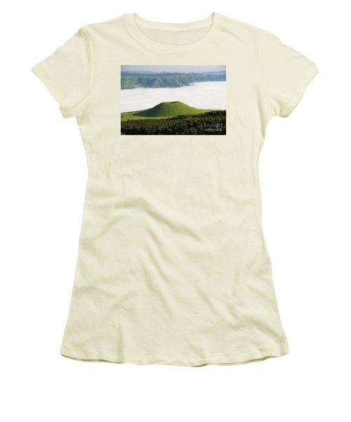 Women's T-Shirt (Junior Cut) featuring the photograph Aso Komezuka Sea Of Clouds Cloud Kumamoto Japan by Paul Fearn