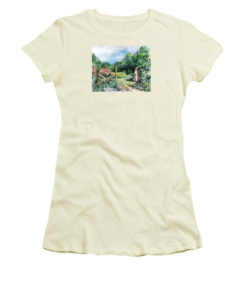 Women's T-Shirt (Athletic Fit) featuring the painting At The Gate Summer Landscape by Irina Sztukowski