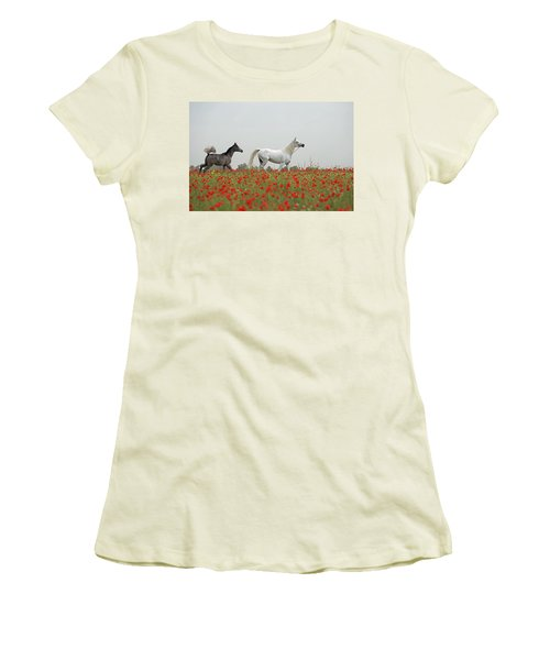 Women's T-Shirt (Junior Cut) featuring the photograph At The Poppies' Field... 2 by Dubi Roman