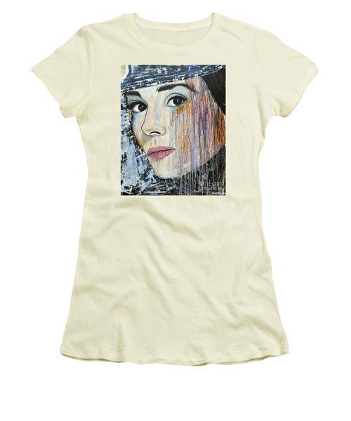 Women's T-Shirt (Junior Cut) featuring the painting Audrey Hepburn-abstract by Ismeta Gruenwald