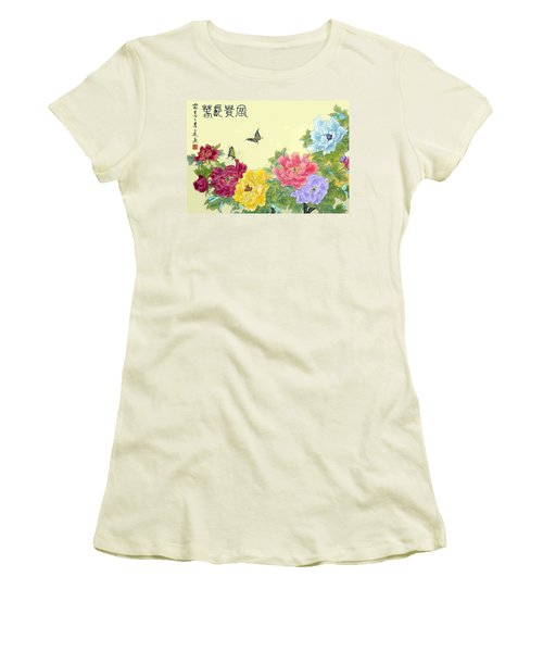 Auspicious Spring Women's T-Shirt (Junior Cut) by Yufeng Wang