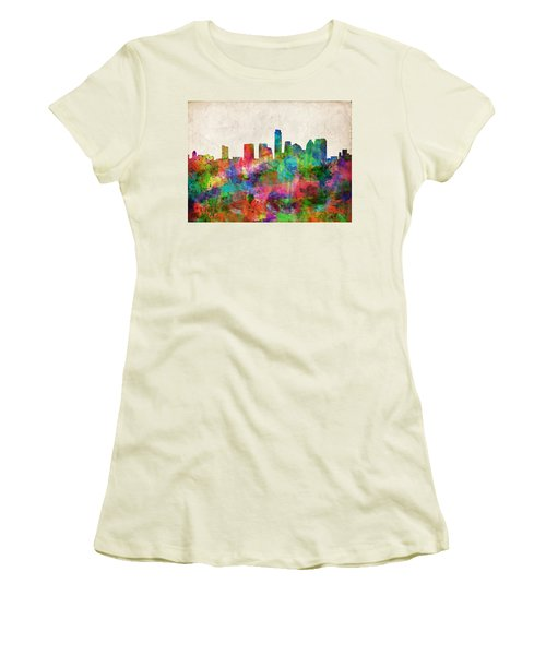 Austin Texas Abstract Panorama 4 Women's T-Shirt (Athletic Fit)