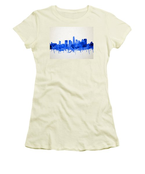 Austin Texas Skyline Watercolor 5 Women's T-Shirt (Athletic Fit)
