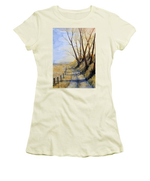Autumn Country Road Women's T-Shirt (Athletic Fit)