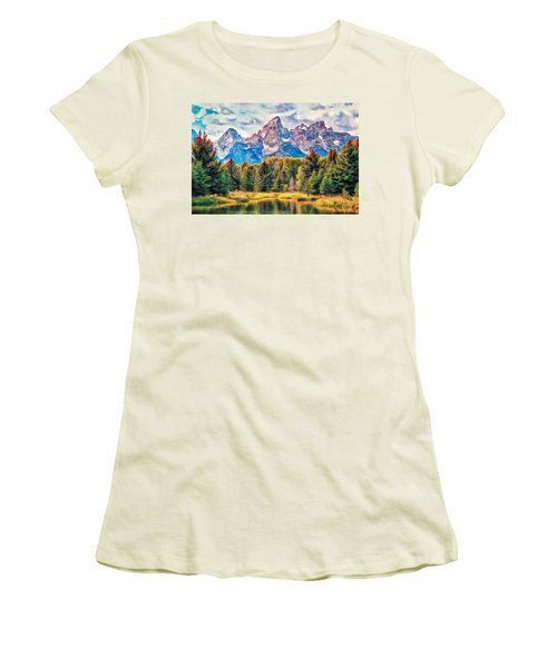 Autumn In The Tetons Women's T-Shirt (Junior Cut) by Dominic Piperata