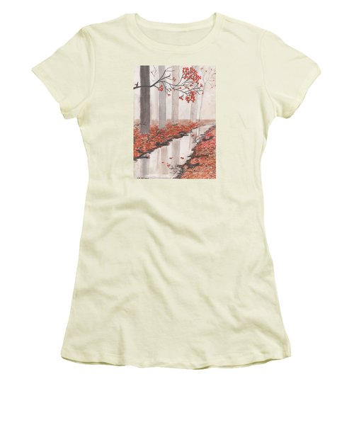 Women's T-Shirt (Junior Cut) featuring the pastel Autumn Leaves by David Jackson