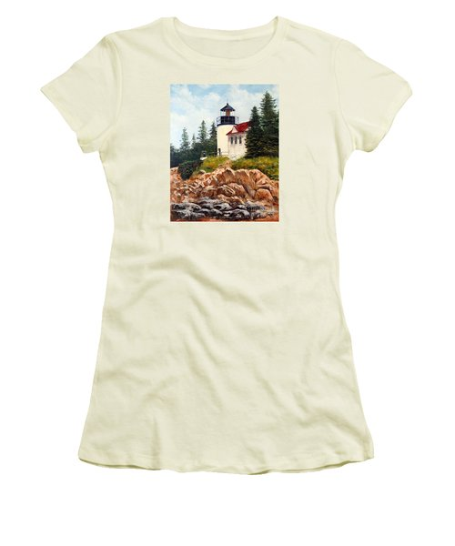 Women's T-Shirt (Junior Cut) featuring the painting Bass Harbor Head Light by Lee Piper