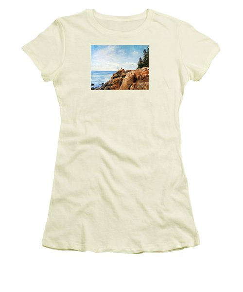 Women's T-Shirt (Junior Cut) featuring the painting Bass Harbor Rocks by Lee Piper