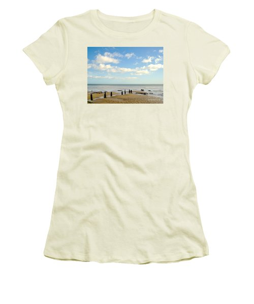 Women's T-Shirt (Junior Cut) featuring the photograph Beach Skies by Suzanne Oesterling