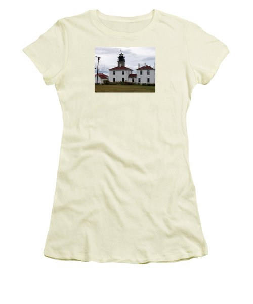 Beavertail Lighthouse Women's T-Shirt (Junior Cut) by Catherine Gagne