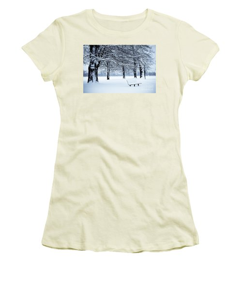 Bench In Snow Women's T-Shirt (Athletic Fit)