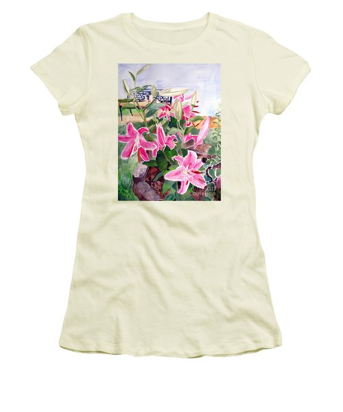 Bench On A Hill Women's T-Shirt (Junior Cut) by Sandy McIntire