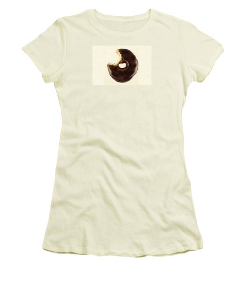 Women's T-Shirt (Junior Cut) featuring the photograph Chocolate Donut With Missing Bite by Vizual Studio