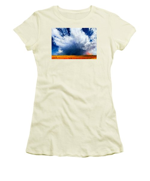 Women's T-Shirt (Junior Cut) featuring the painting Big Cloud In A Field by Bruce Nutting
