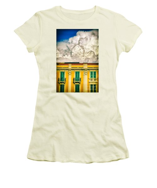Women's T-Shirt (Junior Cut) featuring the photograph Big Cloud Over City Building by Silvia Ganora