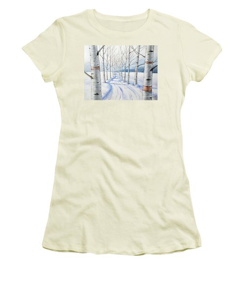 Birch Trees Along The Curvy Road Women's T-Shirt (Athletic Fit)