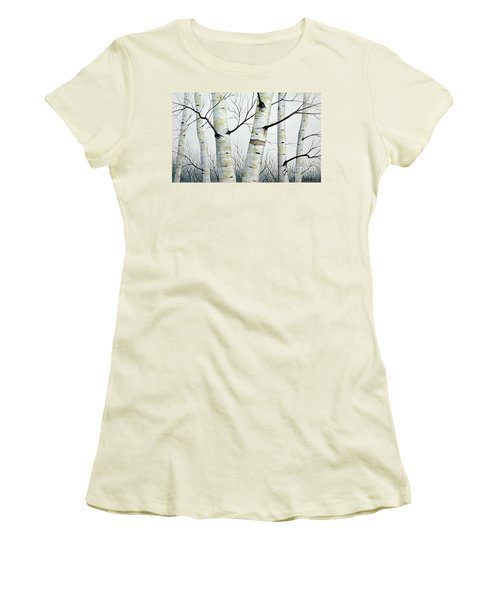 Birch Trees In The Forest By Christopher Shellhammer Women's T-Shirt (Athletic Fit)