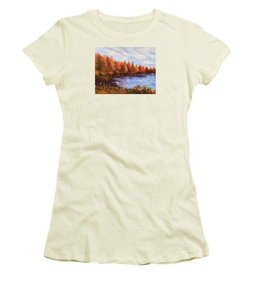 Birchwood Lake Women's T-Shirt (Junior Cut) by Jason Williamson