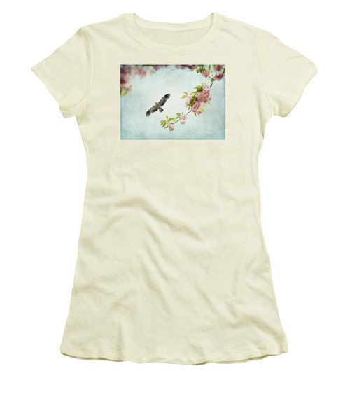 Bird And Pink And Green Flowering Branch On Blue Women's T-Shirt (Athletic Fit)