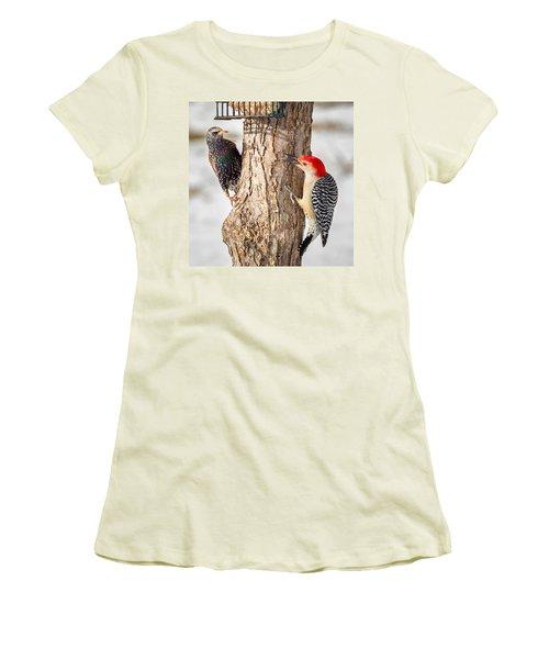 Bird Feeder Stand Off Square Women's T-Shirt (Junior Cut) by Bill Wakeley