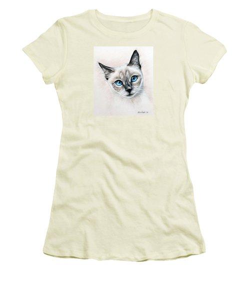 Blue Eyes Women's T-Shirt (Junior Cut) by Lena Auxier