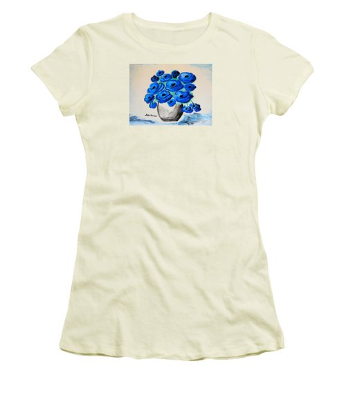 Blue Poppies Women's T-Shirt (Junior Cut) by Ramona Matei