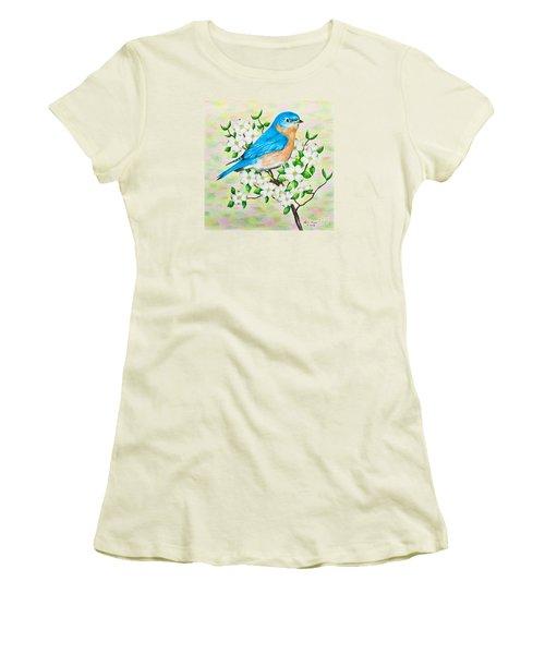 Bluebird And Dogwood Women's T-Shirt (Junior Cut) by Lena Auxier