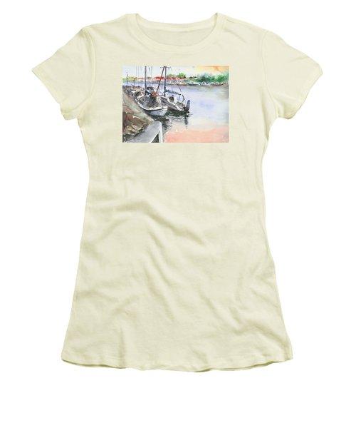 Boats Inshore Women's T-Shirt (Junior Cut) by Faruk Koksal