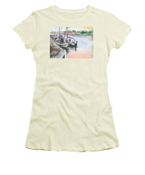 Women's T-Shirt (Junior Cut) featuring the painting Boats Inshore by Faruk Koksal