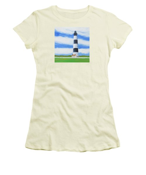 Bodie Island Lighthouse Women's T-Shirt (Junior Cut) by Anne Marie Brown