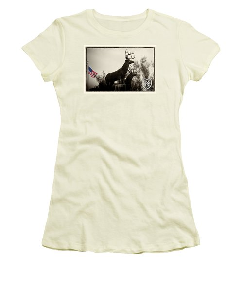 Boldt Castle Deer Women's T-Shirt (Junior Cut) by Tony Cooper