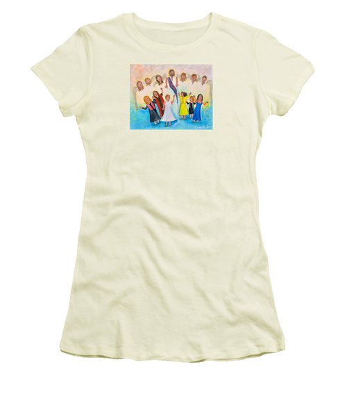Women's T-Shirt (Junior Cut) featuring the painting Bridal Invitation by Cassie Sears