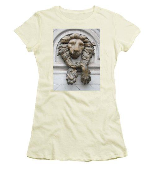 Women's T-Shirt (Junior Cut) featuring the photograph Bronze Lion by Pema Hou