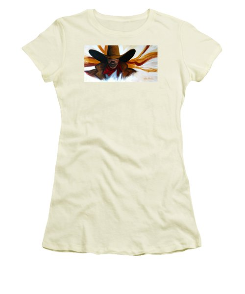 Women's T-Shirt (Junior Cut) featuring the painting Brushstroke Cowboy #4 by Lance Headlee