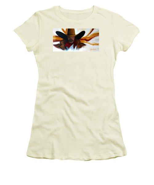 Brushstroke Cowboy #4 Women's T-Shirt (Junior Cut) by Lance Headlee