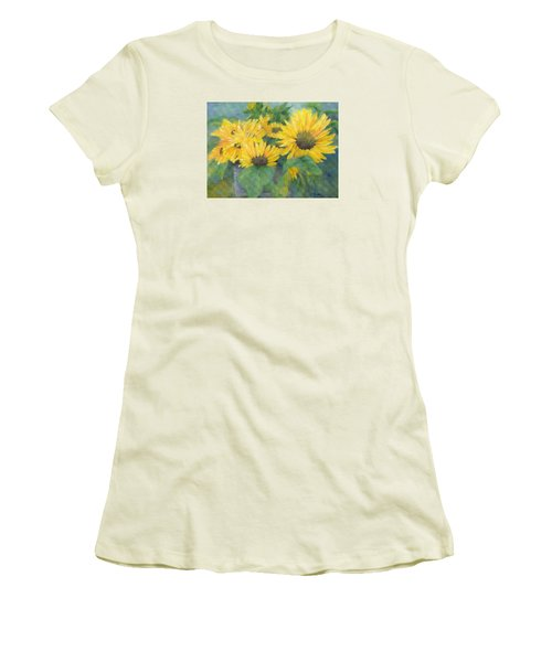Bucket Of Sunflowers Colorful Original Painting Sunflowers Sunflower Art K. Joann Russell Artist Women's T-Shirt (Athletic Fit)
