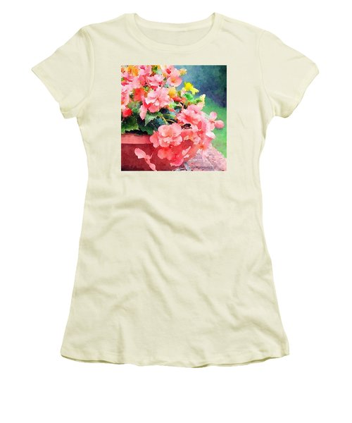 Bucket O Begonias Women's T-Shirt (Junior Cut) by Anna Porter