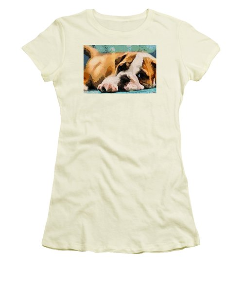 Bulldog Puppy Women's T-Shirt (Athletic Fit)