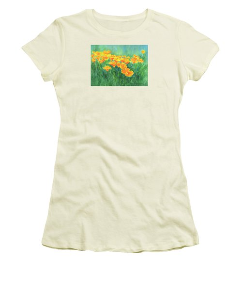 California Golden Poppies Field Bright Colorful Landscape Painting Flowers Floral K. Joann Russell Women's T-Shirt (Junior Cut) by Elizabeth Sawyer