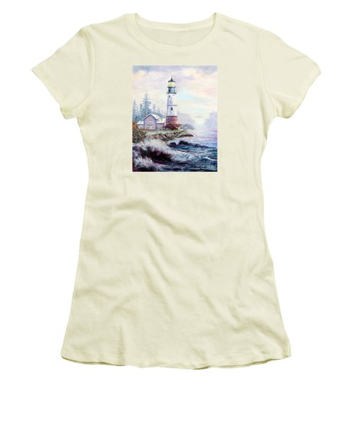 Women's T-Shirt (Junior Cut) featuring the painting California Lighthouse by Lee Piper