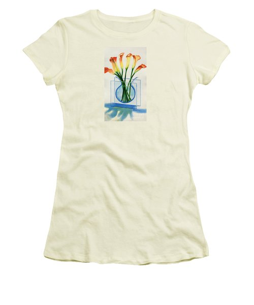 Women's T-Shirt (Junior Cut) featuring the painting Calla Lilies by Kathy Braud